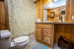 The bathroom, located on the main level off of the living room, has a shower/tub combo and a large vanity.