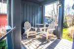Step up to the covered front deck area.