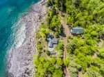 Aerial view of Spirit of Superior showing the proximity to the shoreline and the home to the loft. There is an empty cabin also on the property that is not suitable as a rental.