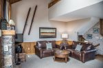 This ski-in/ski-out townhome features a cozy open living area.