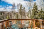 The deck off of the living room has peek-a-boo views of Lutsen Mountains.
