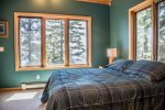 Enjoy views of Lake Superior from the full sized bed.