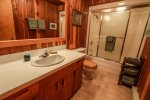 The first bathroom features a shower/tub combo and is located on the main floor.