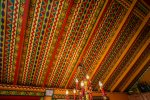 The ceiling design recreates the themes of the Cree Indians and other Native tribes.