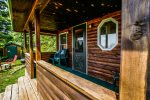 You will love the covered front porch of Opels Cabin 2.