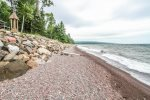 Enjoy this unique, hard to find cobblestone beach which is shared with Namaste Main.
