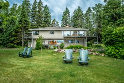 Namaste Main is a beautiful home in Lutsen with Lake Superior shoreline, lovely gardens, and room for the whole family.