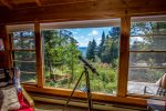 The peek-a-boo views of Lake Superior can be enjoyed through the large living room windows.