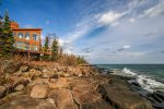 Large glass windows from all angles give you a view of Lake Superior`s coastline.