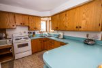 Plenty of counter space in this cute, retro kitchen.
