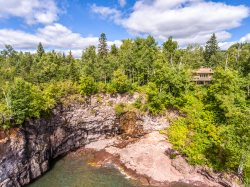 Cathy's Cove is in a great location with a beautiful cascading waterfall and a private cove on Lake Superior.
