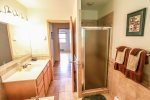 The main level bathroom has a tiled walk-in shower.