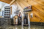 Love coffee and tea in the morning  You will love the Keurig and selection of coffee and teas included with every rental.