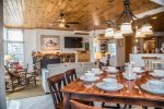 Nowhere else at Bluefin- personalized interior decor with owner-chosen features like the rustic cedar-log fireplace mantel and much talked-about art