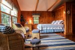 The guest cottage bedroom is large and inviting.