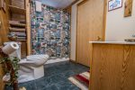 There is a full bathroom with a shower/tub combo in the lower level.