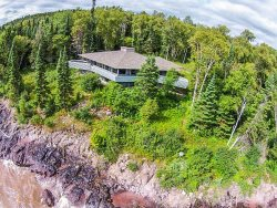 Seagull House is a Frank Lloyd Wright inspired home designed by John Howe on Minnesota's North Shore of Lake Superior and has an extremely private location just 6 miles from Grand Marais.