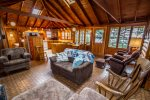 You will love the high ceilings and windows in this cabin.