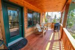 Step out of the living area and enjoy the open back deck.
