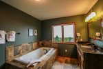 Relax in the jetted tub after a day of hiking or skiing.