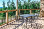 Your private lake-facing deck is ideal for summer time cookouts.
