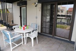 Enjoy the breeze off the water in your shaded patio area.