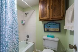 Shower tub combo and easy shampoo dispenser. Making an easy vacation at South Padre Island.