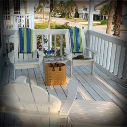 Front Deck upstairs perfect for gatherings and dinners on the cool nights  -South Padre Island Beach House Rental