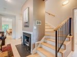 Stairs to Upper Level - Fireplace is only decorative.