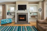 Living area with cheery gas fireplace