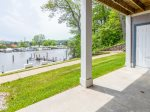 River views with outdoor dining table and gas grill