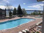 Outdoor Heated Seasonal pool with a view of Bear Lake
