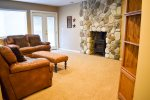 Basement fireplace and family room