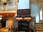 Stairs wrap around Fire Place/TV