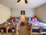 Back patio and lawn and Corn hole game for family fun