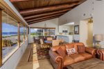 The best part of this home is the large, open common living area with 180 degree  ocean views.