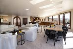 The dining area opens to living room and kitchen, perfect for entertaining