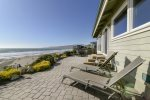 This beautiful home sits right on the beach with 180 degree views of the Pacific Ocean and Cayucos coastline