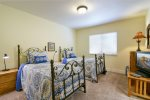 The 3rd bedroom has 2 twin beds and shares a bathroom with the queen bedroom.