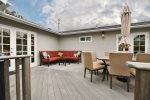 Back deck offers lots of great seating options