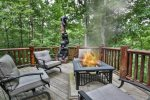 Beautiful deck with plenty of seating  to enjoy the fire table and take in the gorgeous views