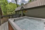 Hot tub and outdoor dining area