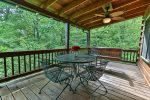 Outdoor dining on covered deck