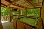 Hot tub on deck with flat screen TV