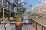 Riverfront cabin with decks for entertaining
