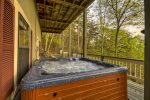 Hot tub on terrace level