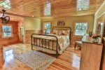 queen master bedroom on the main level in the North Georgia Mountains