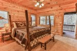 Master bedroom with 32 inch TV deck access, convenient to hot tub