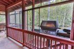 Grill on the back deck with screened in porch