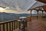 Gas grill on the deck with stunning North GA Mountain views